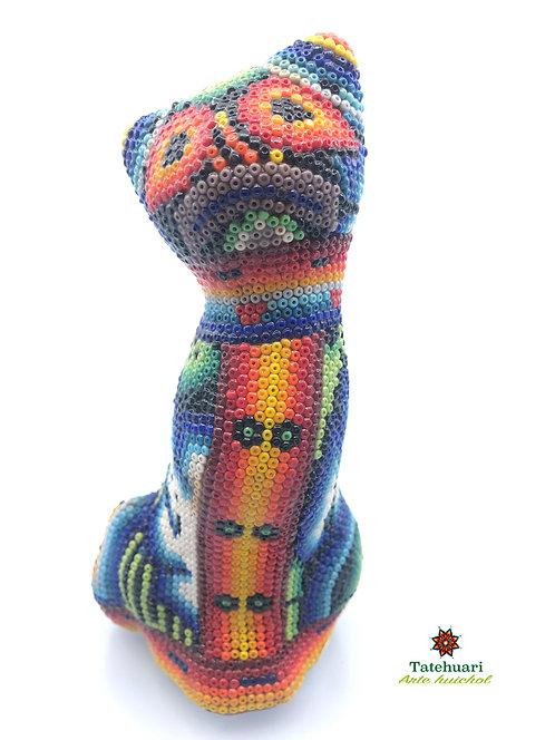 Gato forrado con Chaquira - Arte Huichol