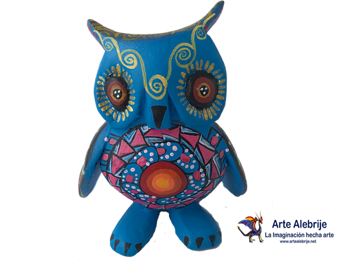 Alebrije de Madera | Buho chico Azul Rey- Rosa