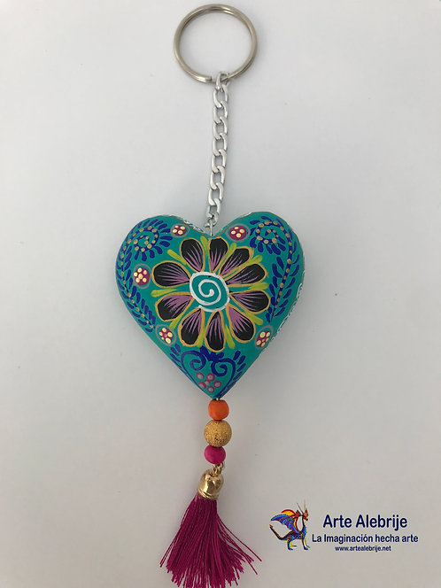 Wooden Alebrije | Keychain of Heart Blue Aqua-Black Medium Size