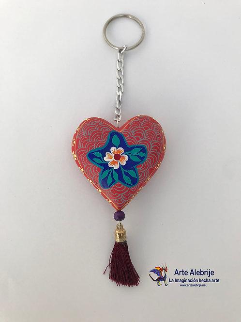 Wooden Alebrije | Keychain of Heart Pink- Blue Flower Medium Size