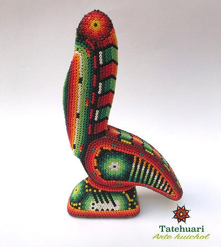 Arte huichol - Pelicano Forrado de Chaquira Grande