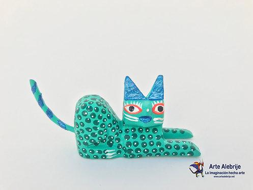 Wooden Alebrije | Miniature Size Aqua Green Cat