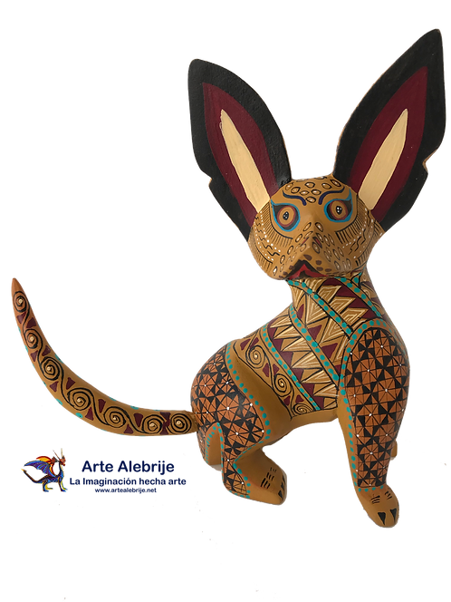 Wooden Alebrije | Medium Size Yellow with Brown Xoloitzcuintle