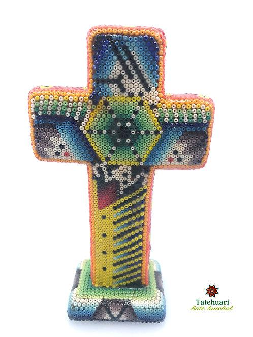 Cruz Forrada con Chaquira - Arte Huichol