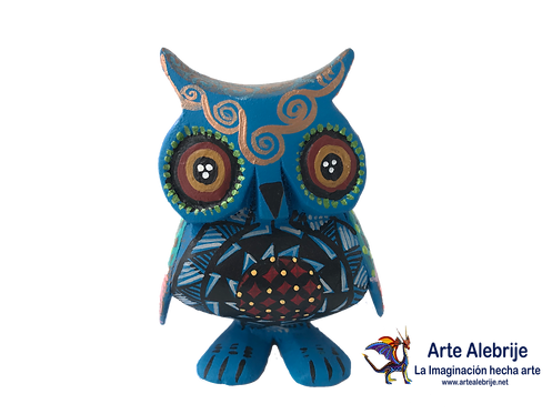 Wooden Alebrije | Small Size Blue King-Black Owl