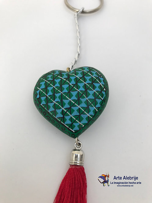 Alebrije de Madera | Llavero de Corazón Verde-Azul Cielo Chico
