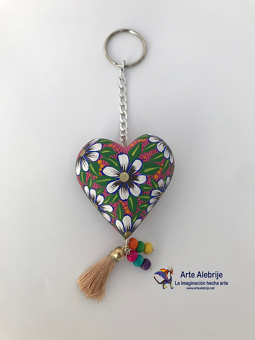 Wooden Alebrije | Keychain of Heart Pink- White Flower Medium Size