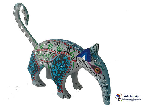 Wooden Alebrije | Bear Anthill Gray Small Size