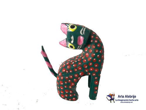 Alebrije de Madera |Gato Verde Oscuro con Naranja Mini