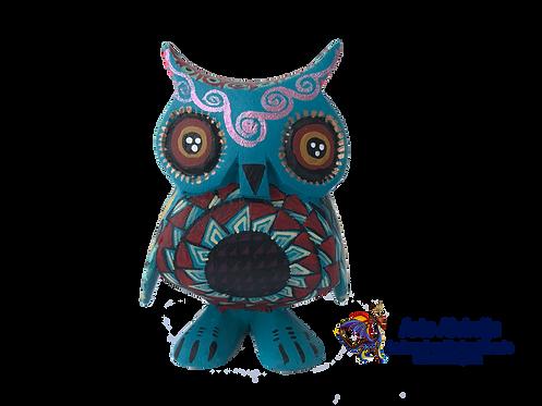 Alebrije de Madera | Buho chico Azul Aqua