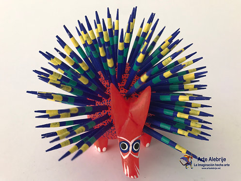 Wooden Alebrije | Medium Size Pink-Navy Blue Porcupine