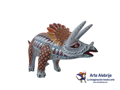 Wood Alebrije | Dinosaur Triceraptops