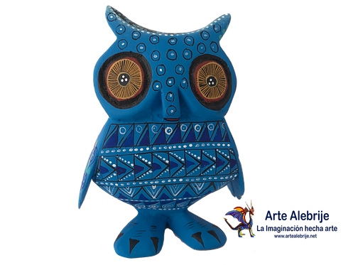 Wood Alebrije | Medium owl Dark Blue