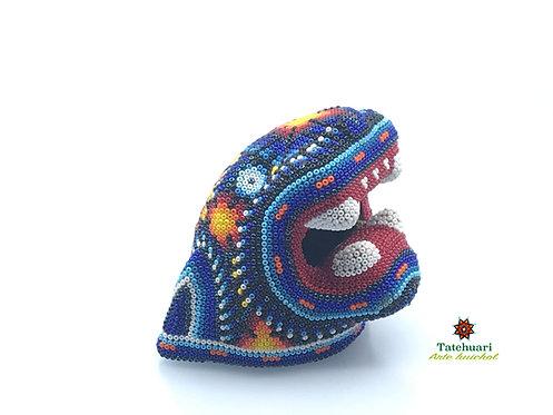Cabeza de Jaguar decorada con Chaquira - Arte Huichol