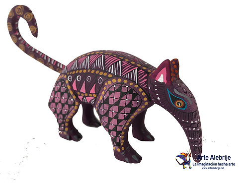 Wooden Alebrije | Bear Anthill Purple Small Size