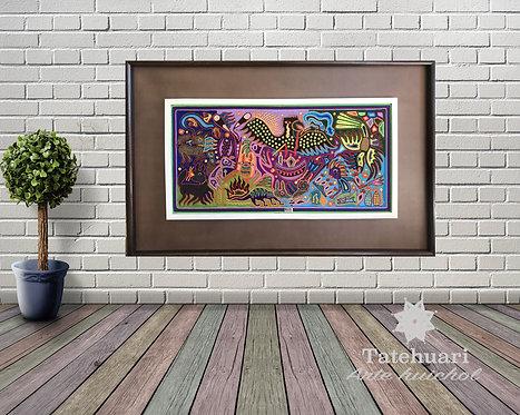 Cuadro de Estambre Enmarcado Colores 97 X 166 cms