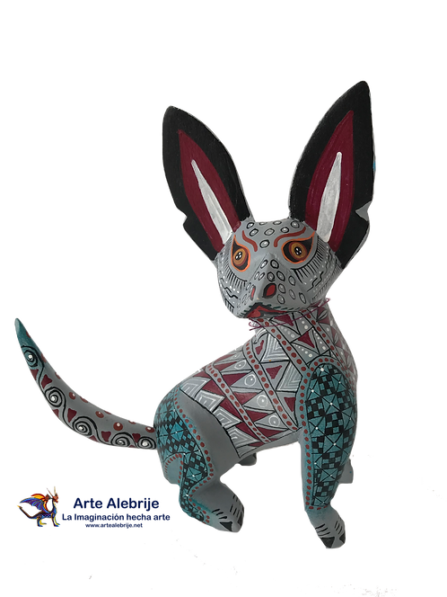 Wooden Alebrije | xoloitzcuintle Medium Size Gray