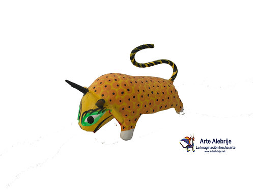 Wooden Alebrije | Miniature Size Yellow-Black Bull