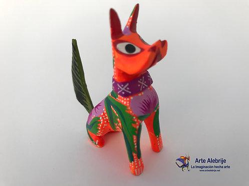 Alebrije de Madera | Perro Naranja Mini