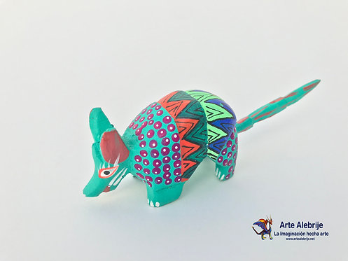 Wooden Alebrije | Small Size Green Aqua-Orange Armadillo