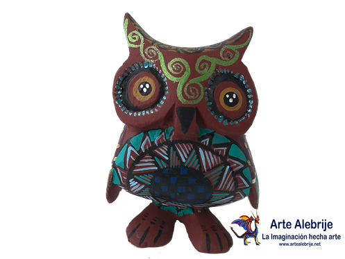 Wooden Alebrije | Small Size Brown Owl