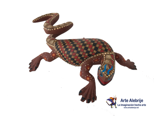 Wooden Alebrije | Medium Size Brown Salamander