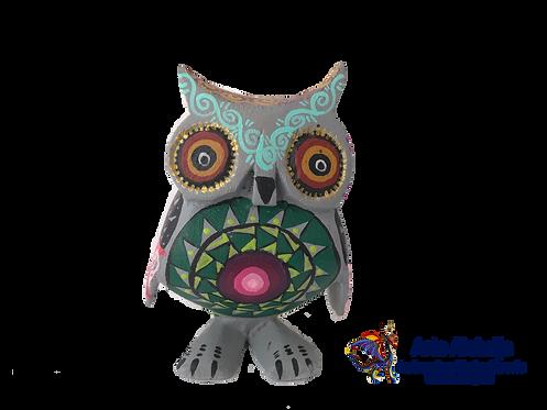 Wooden Alebrije | Small Size Gray-Green Owl
