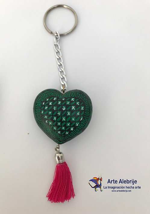 Wooden Alebrije | Keychain of Heart Green-Black Small Size