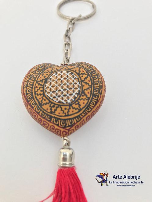 Wooden Alebrije | Keychain of Heart Beige-Black Small Size