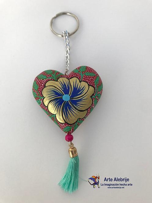 Alebrije de Madera | Llavero de Corazón Rosa con Flor Dorada Mediano