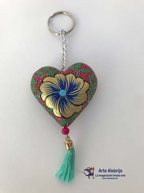 Wooden Alebrije | Keychain of Heart Pink with Golden Flower Medium Size