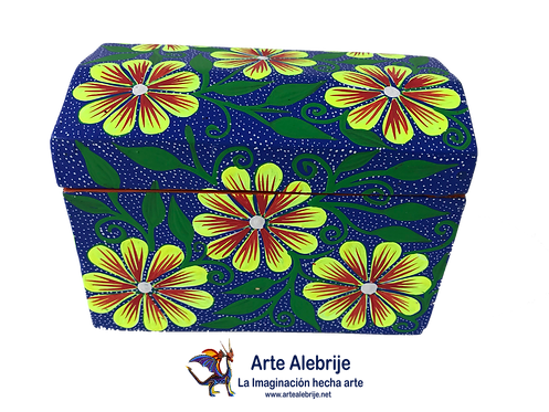Wooden Alebrije | Alhajero Box Blue-Yellow small size