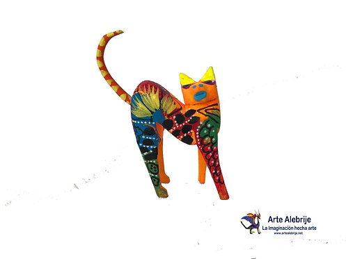 Wooden Alebrije | Miniature Size Orange Cat