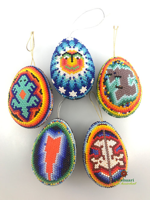 Set de 5 huevos forrados con chaquira - Arte Huichol