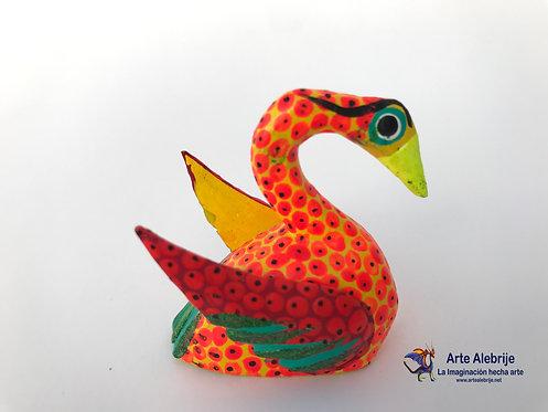 Wooden Alebrije | Miniature Size Yellow-Orange Swan