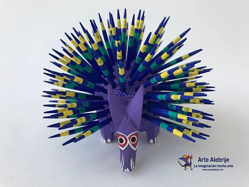 Wooden Alebrije |  Medium size Purple-Navy Blue Porcupine