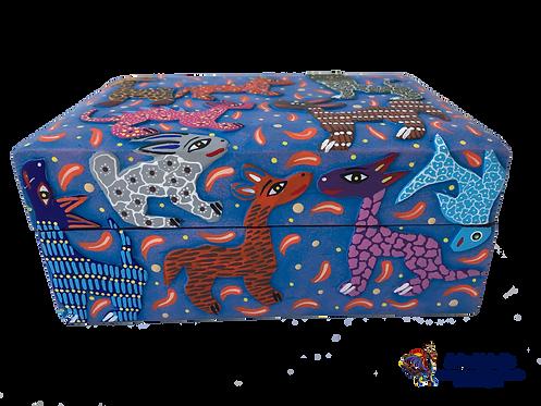 Alebrije de Madera | Caja Alhajero Azul con Relieve