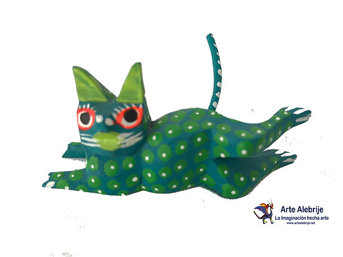 Wooden Alebrije | Miniature Size Green Cat