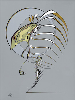 Contemporary  painting of a Luna moth sitting on an armadillo skeleton.