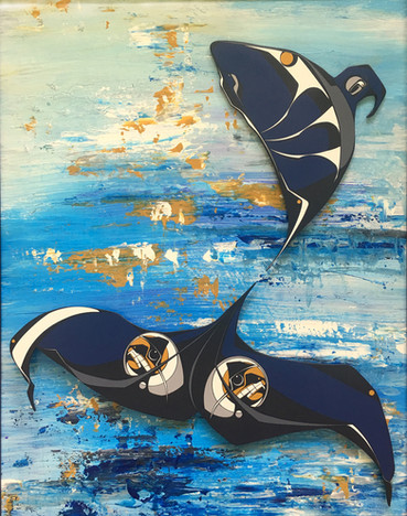 Contemporary painting of an Orca. 3-dimensional image