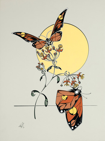 Contemporary painting of Monarch butterflies on milkweed.
