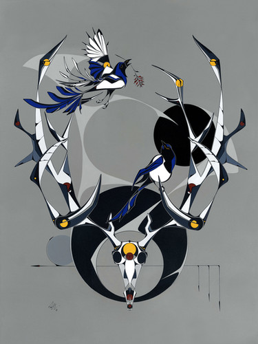 Magpies with Elk Skull