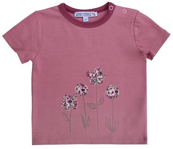 Enfant Terrible-Baby Shirt mit Blumen in altrosa
