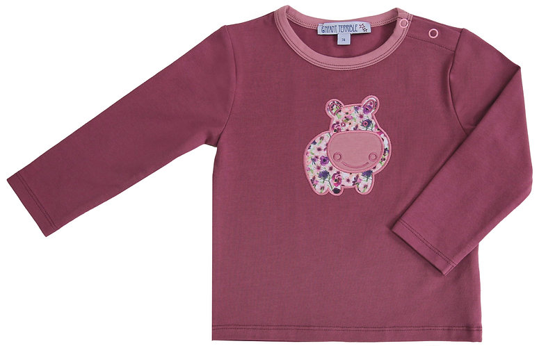 Enfant Terrible-Baby Langarmshirt mit Nilpferd in malve
