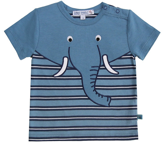 Enfant Terrible-Baby Shirt Mit Elefant In Petrol-Navy