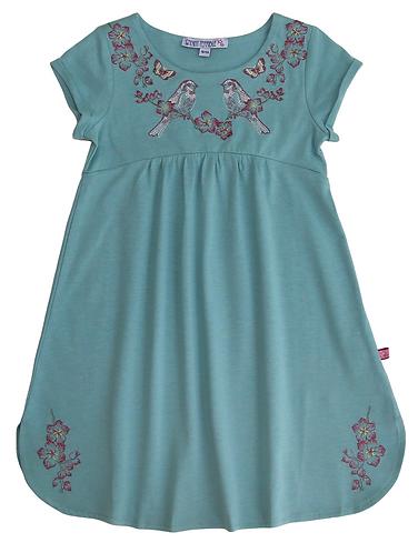 Enfant Terrible-Jersey Kleid Stickerei In Jade