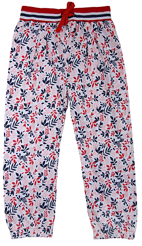 Enfant Terrible-Jersey Hose Miniblütendruck in rot-navy