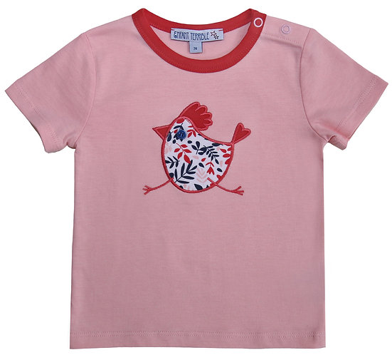 Enfant Terrible-Baby Shirt mit Huhn In Hellrosé