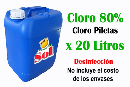 Cloro PILETAS X 20 Litros