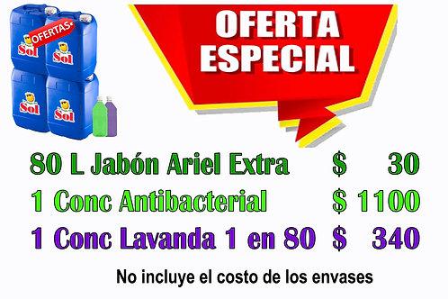 Jabón Ariel Extra X 80 Litros + 2 Conconcentrados